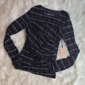 Halogen NWT Navy Plaid Mesh Ruched Long Sleeve